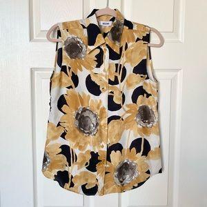 Moschino Sunflower Sleeveless Button Up